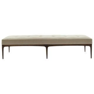 1950s Mid-Century Modern Long Bench in Natural Mohair For Sale