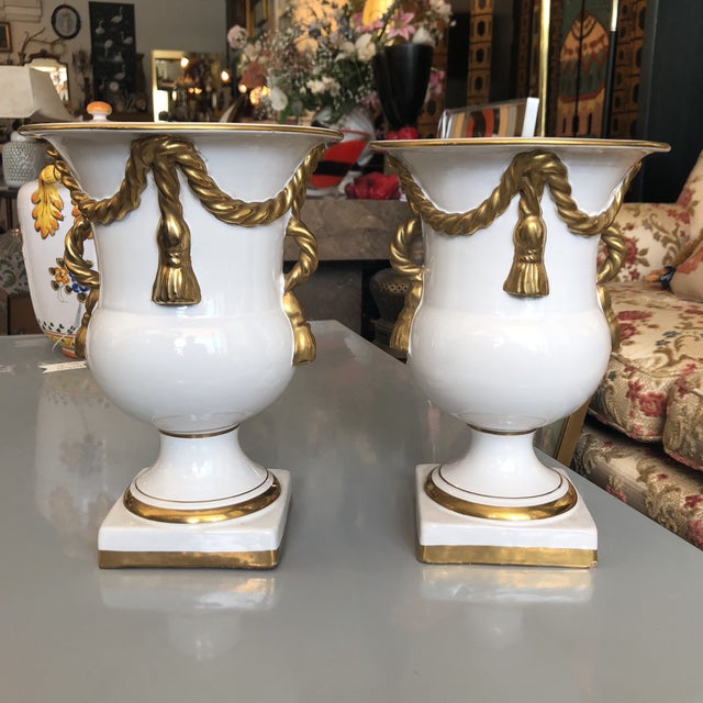 Italian Tassel Urn Vases - a Pair For Sale - Image 10 of 10