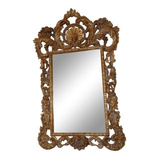 Rococo Baroque Style Gilt Hand Carved Wood Mirror For Sale