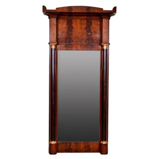 19th Century French Empire Mahogany Trumeau Mirror For Sale