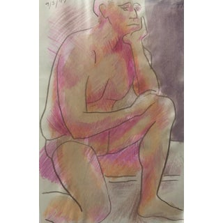 Seated Male Nude Painting 1997 For Sale