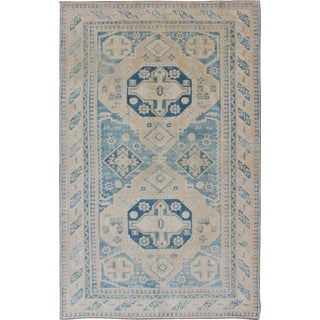 Blue and Tan Vintage Turkish Oushak Rug With Geometric Dual Medallions For Sale