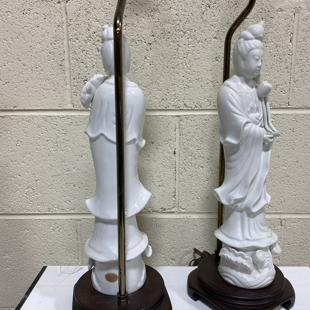 1960s Seyei Fine China Quan Yin Lamps - a Pair For Sale - Image 5 of 10