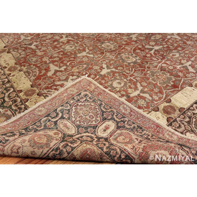Room Size Antique Persian Tabriz Rust Color Rug - 10′7″ × 14′5″ For Sale - Image 9 of 11