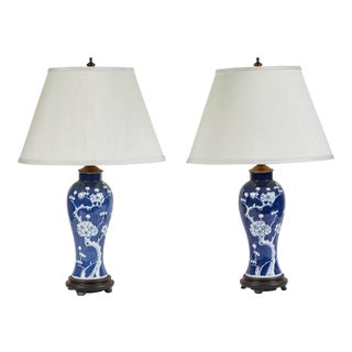 Vintage Pair of Blue and White Cherry Blossom Lamps For Sale
