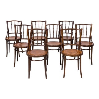 Set of 8 Classic Bentwood Cafe Chairs by Mundus and J. & J. Kohn For Sale