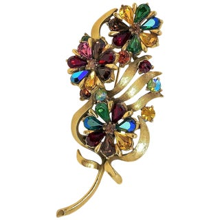 1960s Coro Jewel-Tone Faceted Stone Brooch For Sale