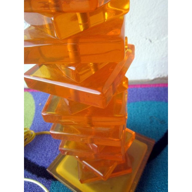Modernist Orange Stacked Lucite Lamp For Sale - Image 9 of 10