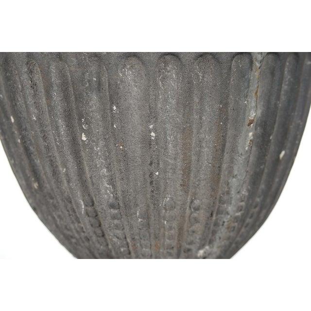 Metal Antique Large Outdoor Lidded Metal Urn For Sale - Image 7 of 9