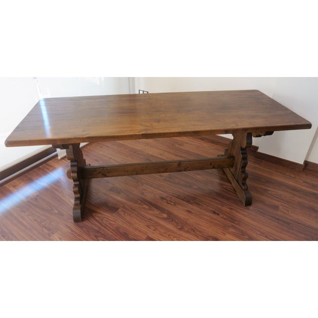 Baroque Spanish Rustic Dining Room Table with Lyre Leg For Sale - Image 3 of 10