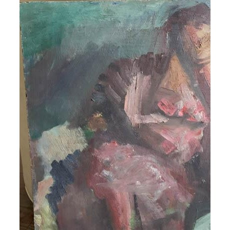 Mid Century 1957 Painting - Two Paintings in One - Reclining Nude, Man's Portrait For Sale In New York - Image 6 of 8