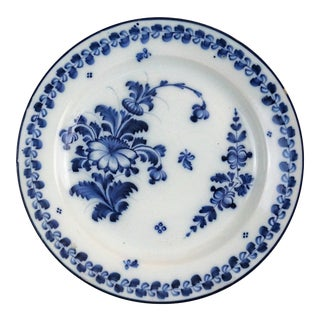 Antique Delft Floral Plate, Hand Painted For Sale