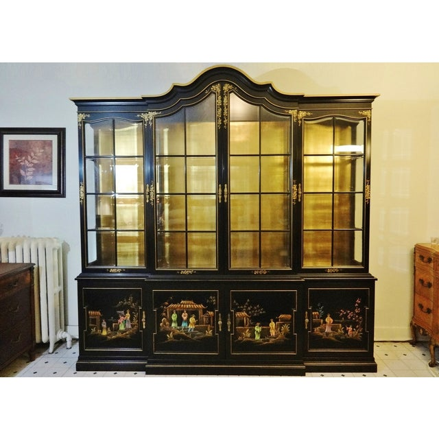 Vintage Gold Leaf Hand-Painted China Cabinet - Image 2 of 6