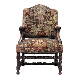 French Provincial Walnut Arm Chair For Sale