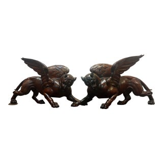 17th/18th Century Italian Carved Walnut Griffins - a Pair For Sale