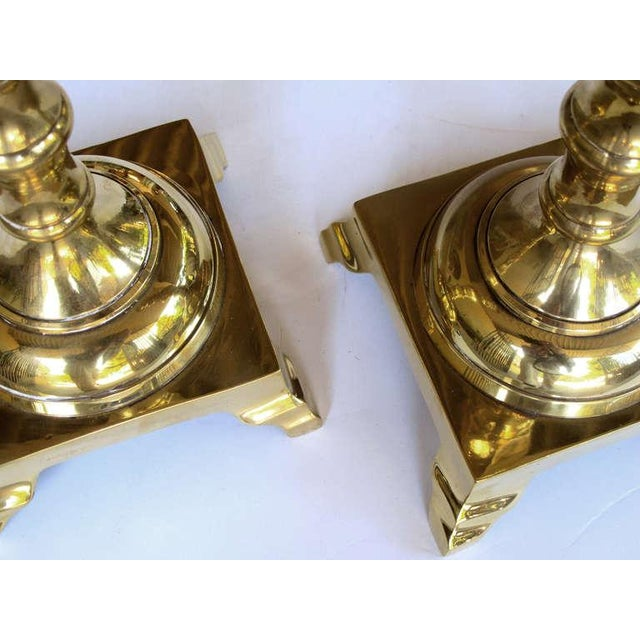 Neoclassical A Good Quality and Heavy Pair of Dutch Baluster-Form Brass Candlesticks For Sale - Image 3 of 5