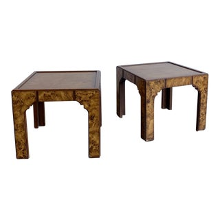 Art Deco Burl-Wood and Mahogony Side Tables - a Pair For Sale