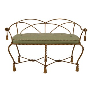 Gilt Metal Rope and Tassel Loveseat For Sale