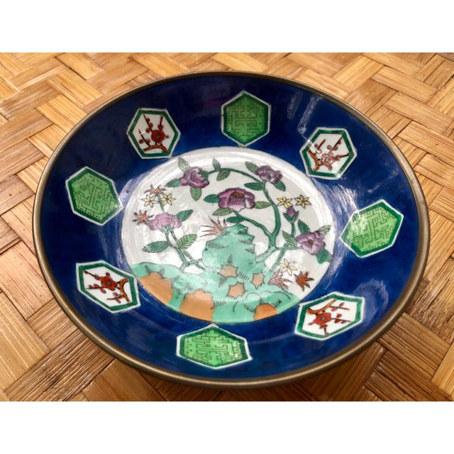 Metal 20th Century Chinese Floral Porcelain Catchall Dish For Sale - Image 7 of 10