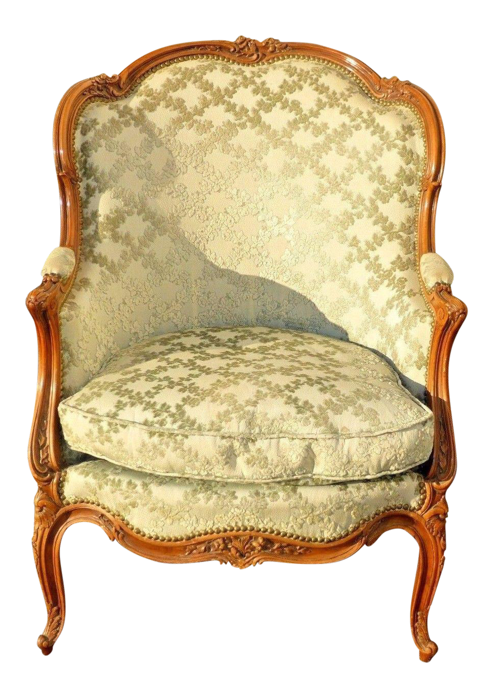 Vintage Carved French Louis Xv Style Sage Bergere Chair