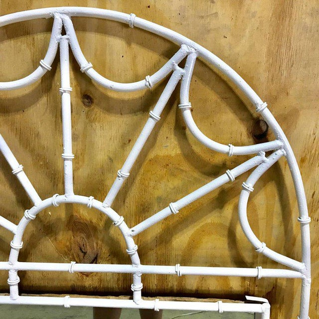 1950s Midcentury Faux Bamboo Iron Mirror in White For Sale - Image 5 of 8