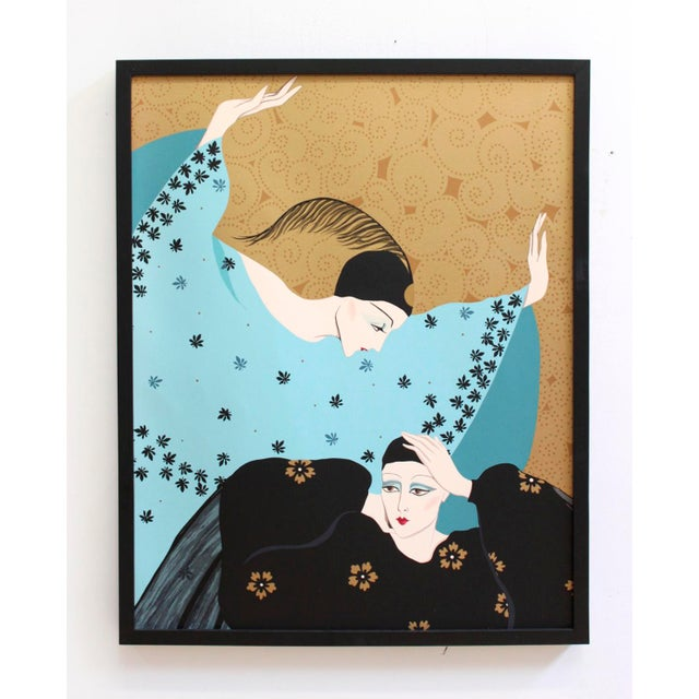 Weimar Deco Style Women Illuminated Gold Painting on Paper - Image 2 of 5