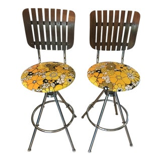 Mid-Century Umanoff Style Slat-Back Floral Seat Bar Stools- A Pair For Sale