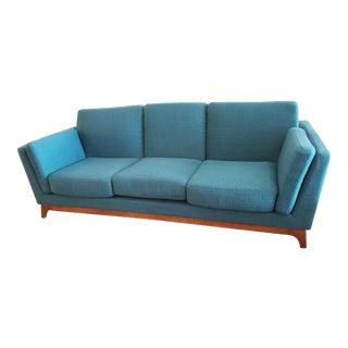 Mid-Century Modern Style Lagoon Teal Sofa With Low Walnut Legs