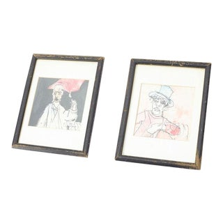 Framed Pen and Ink Original Drawings - a Pair