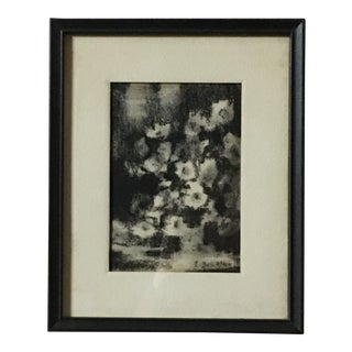 """""""Flora"""" Vintage Charcoal Drawing For Sale"""