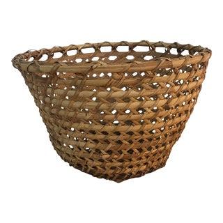 1970s Vintage Wide Weave Basket For Sale
