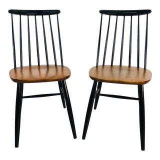 Vintage 1960s Spindle Back Teak & Black Painted Chairs, Pr For Sale
