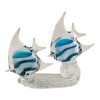 Vintage Murano Turquoise Fish Sculpture For Sale
