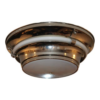 Vintage Art Deco Style Multi Tiered Nickel &Frosted Glass Flush Mount For Sale