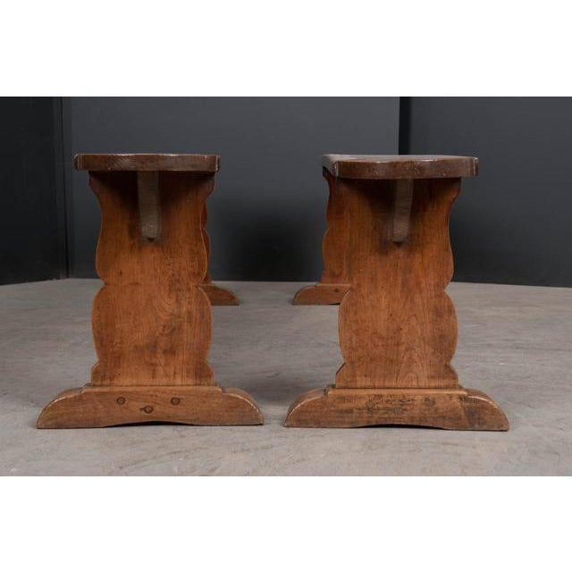 Pair of French 19th Century Provincial Oak Benches For Sale - Image 4 of 13