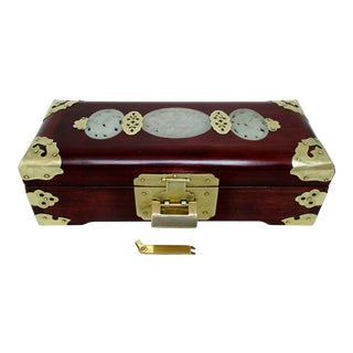 Chinese Rosewood & Brass Jewelry Box For Sale