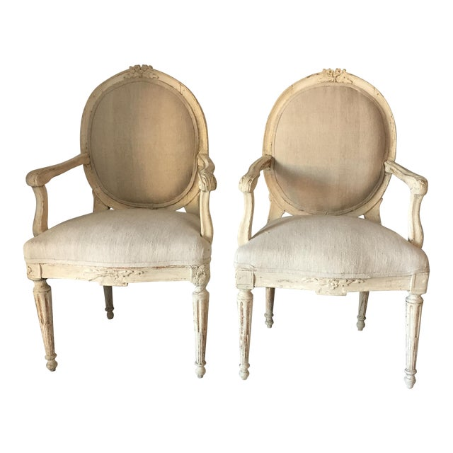 Swedish Antique White Arm Chairs - a Pair For Sale