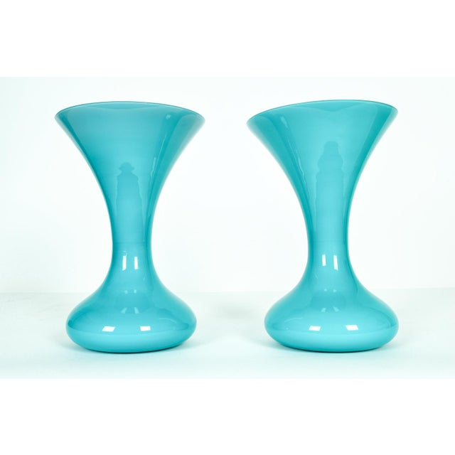 Mid 20th Century Mid Century Modern Art Deco Murano Glass Vases - a Pair For Sale - Image 5 of 5