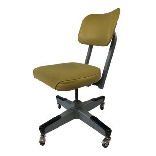 Vintage Industrial Yellow Swivel Office Chair by United For Sale