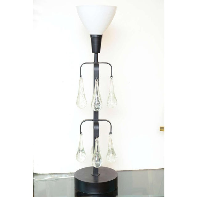 Mid-Century Modern Unusual Erik Hoglund Iron and Blown Teardrop Glass Lamp For Sale - Image 3 of 9