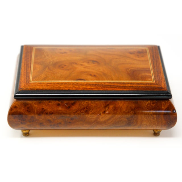 1950s Footed Wooden Jewelry Music Box Made in Italy For Sale - Image 5 of 13