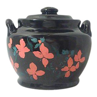 1940's Black Ceramic Hand Painted Jar