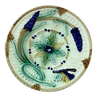 Late 19th Century Majolica Flowers and Butterfly Wasmuel Plate For Sale