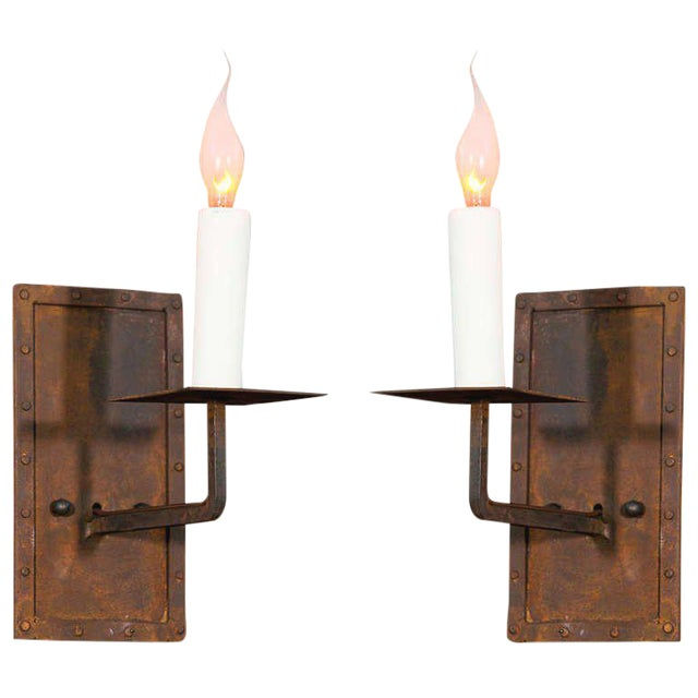 "Customizable Pair of ""Bexar"" Hand-Made Iron Sconces For Sale"