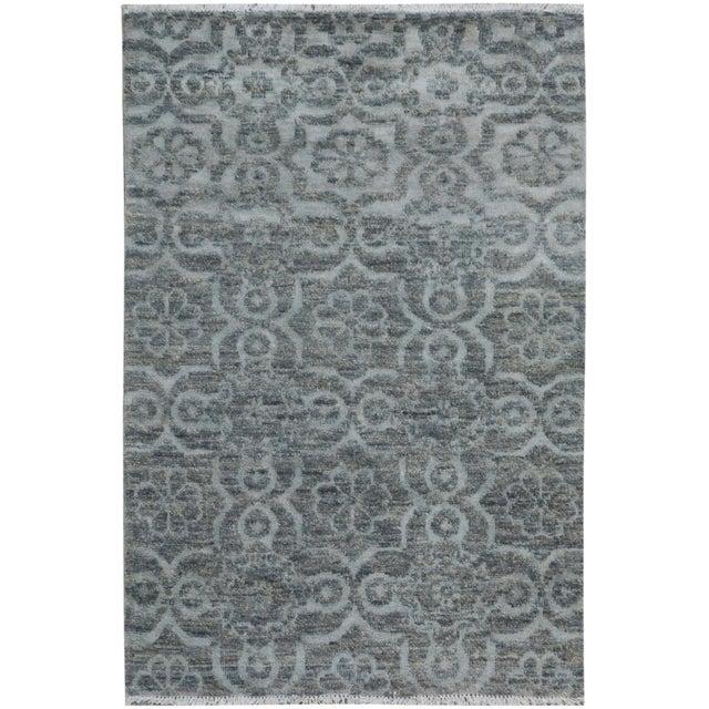 "Gray Kafkaz Peshawar Rosalia Gray/Gray Wool & Viscouse Rug - 3'11"" X 5'9"" For Sale - Image 8 of 8"