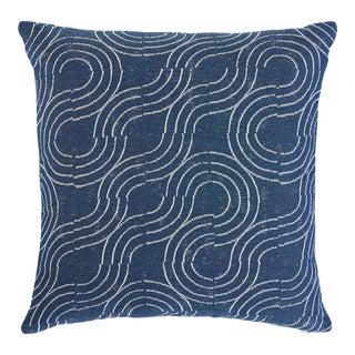 Schumacher Alma Indoor/Outdoor Pillow in Denim For Sale