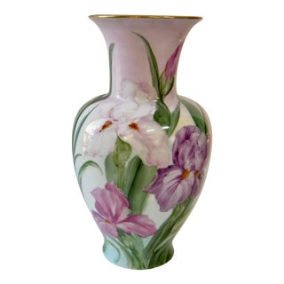 Vintage Early 20th Century German Hand Painted Iris Vase For Sale