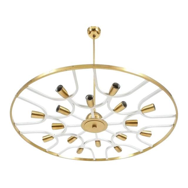 Grand Ornamental Italian Brass Chandelier Or Flush Mount Lamp, circa 1960 For Sale