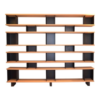 "Early 21st Century Design Frères Large ""Horizontale"" White Oak and Black Steel Shelving Unit For Sale"
