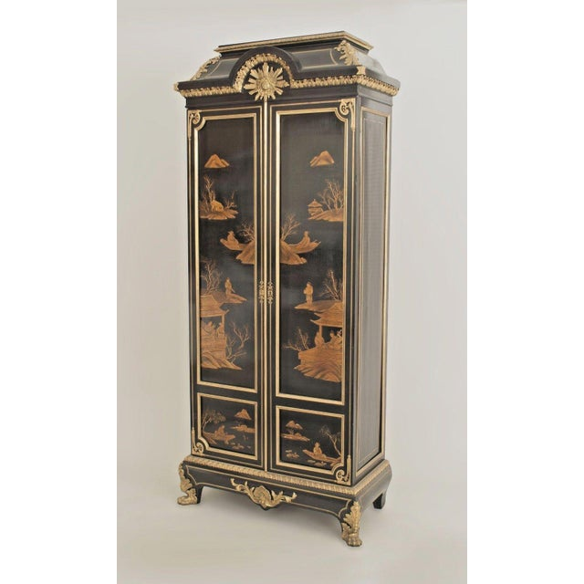 French Victorian Chinoiserie Decorated Armoire Cabinet For Sale - Image 11 of 11